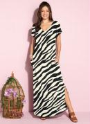 Vestido Longo Soltinho com Fenda Zebra