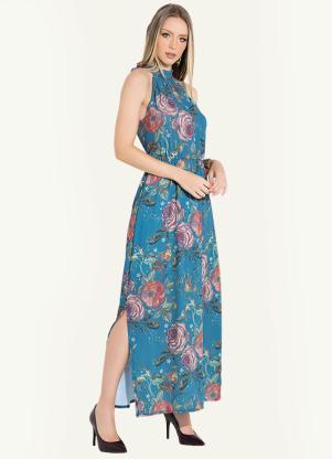 5ed28e007 Vestido Longo Tapeçaria Azul com Fenda - Quintess