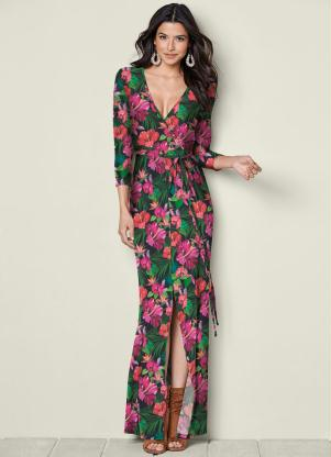 Vestido Longo Transpassado (Floral Preto)