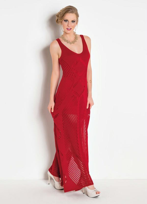 Vestido Longo Tricê com Fenda (Vermelha)