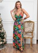 Vestido Longo Tropical com Fenda na Frente