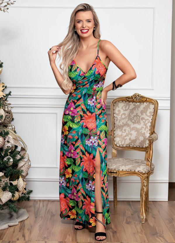 Vestido Longo (Tropical) com Fenda na Frente