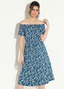 Vestido Ombro a Ombro Floral Azul Quintess