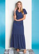 Vestido Poá Azul com Babado Moda Evangélica