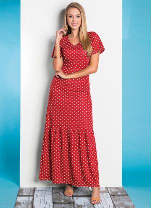 Vestido (Poá Vermelha) com Babado Moda Evangélica