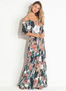 Vestido Quintess Ciganinha Floral e Listras