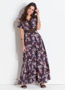 Vestido Quintess Floral Dark Detalhe de Renda