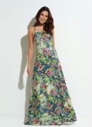 Vestido Quintess Floral Fluor Vazado no Decote