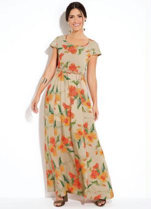 4d8388c1fa Vestido Quintess Longo Floral Bege com Cinto - SouLojista