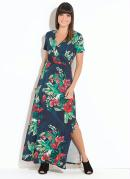 Vestido Quintess Longo Floral Marinho