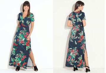 af694c069 Score: 0.0 Vestido Quintess Longo Floral Marinho