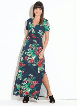 3deb320ca Vestido Quintess Longo Floral Marinho - Quintess