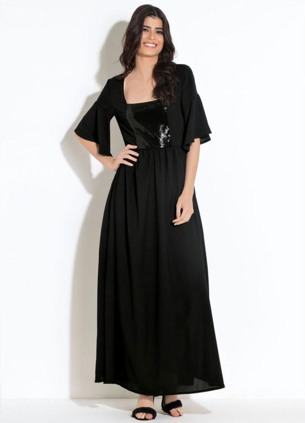 Vestido Quintess Longo (Preto) com Paetê