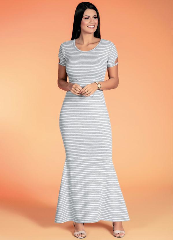 Vestido Sereia (Listrado Mescla) Moda Evangélica