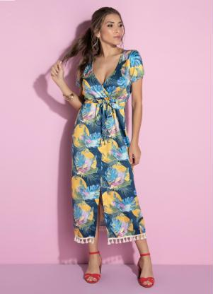 Vestido (Tropical) com Fenda Frontal e Barbicachos