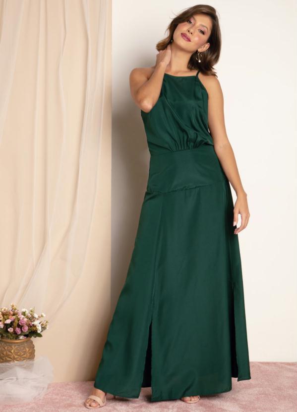 Vestido (Verde) de Alças com Fendas