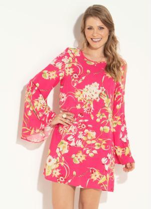 75761e229e Vestido Quintess Floral de Mangas Amplas - SouLojista
