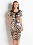 Vestido Animal Print com Amarração na Gola