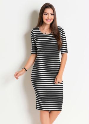 Vestido em Ribana (Listrado) Moda Evangélica