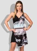 Vestido Assimétrico com Transpasse Floral