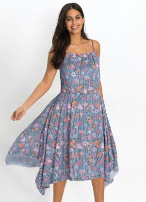 Vestido Assimétrico de Alcinhas (Estampado Azul)