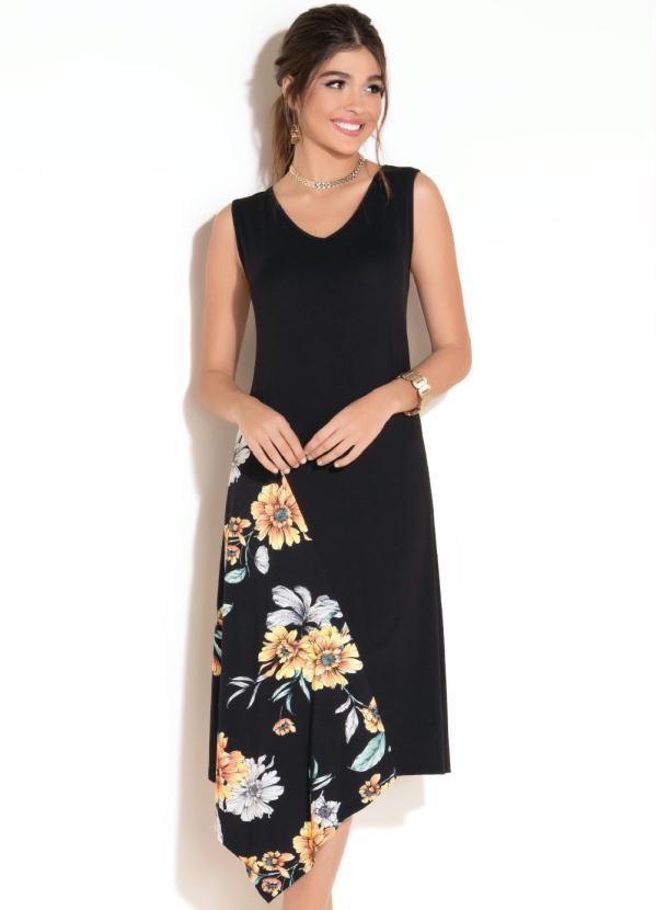 Vestido Assimétrico (Floral Preto)