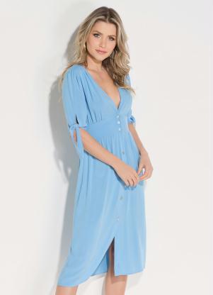Vestido (Azul Claro) com Abertura em Botões