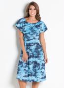 Vestido Azul com Babados Moda Evangélica