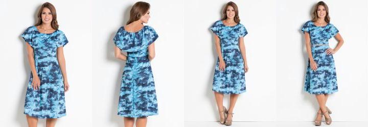 9509c09f32 Score  0.0 Vestido Azul com Babados Moda Evangélica