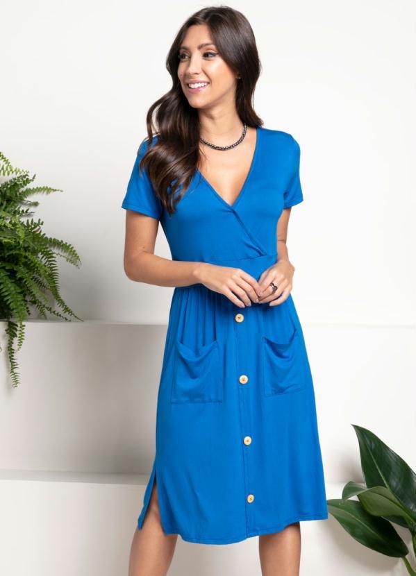 Vestido (Azul Royal) com Bolsos