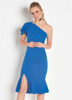 5d5e1244e9 Vestido Azul Royal com Fenda - Quintess