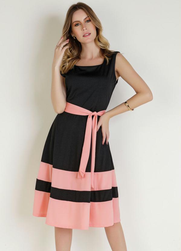 Vestido (Bicolor) com Faixa Moda Evangélica