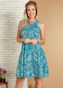 Vestido Cashmere Azul com Franzidos na Saia