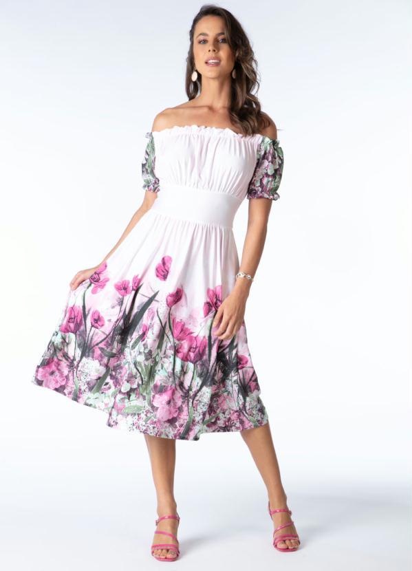 Vestido Ciganinha (Barrado Rosa) Acinturado