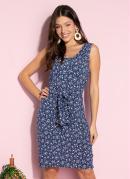 Vestido Clássico Floral Azul com Faixa