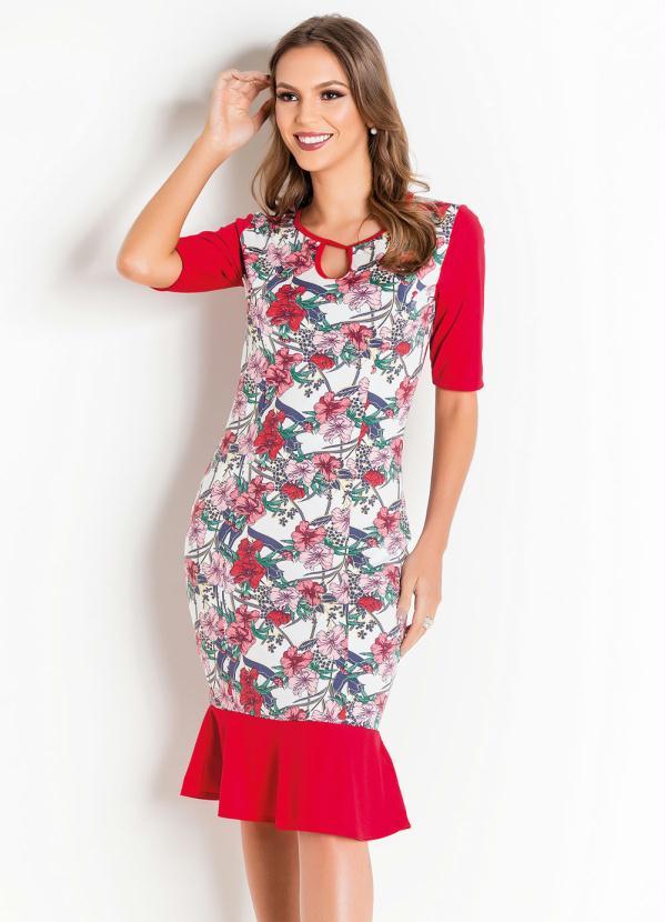 Vestido com Babado (Floral) Moda Evangélica