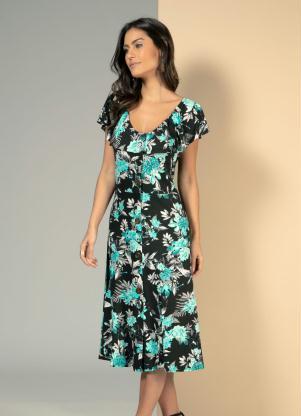 Vestido com Babado no Decote (Floral Azul)
