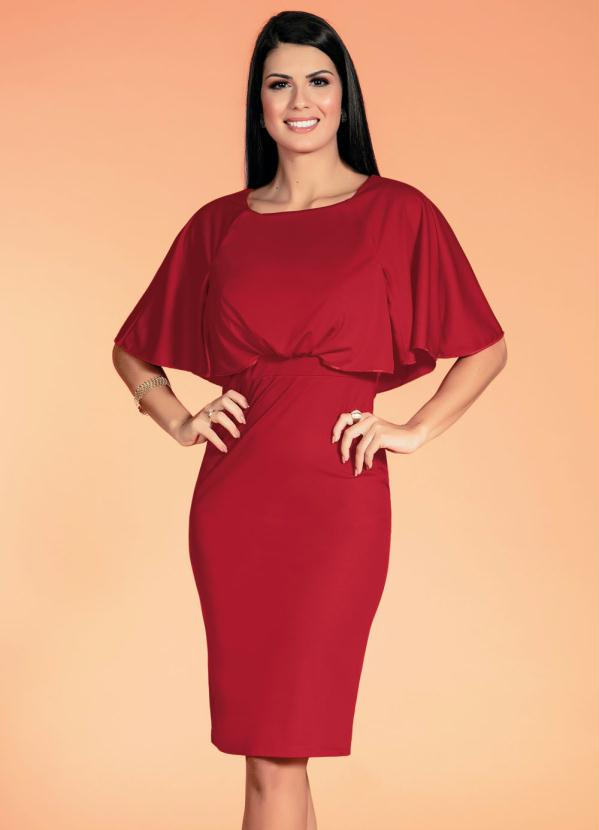 Vestido com Babado (Vermelho) Moda Evangélica