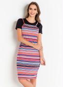 Vestido com Blusa Listrada Moda Evangélica