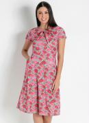 Vestido com Bolsos Floral Rosa Moda Evangélica