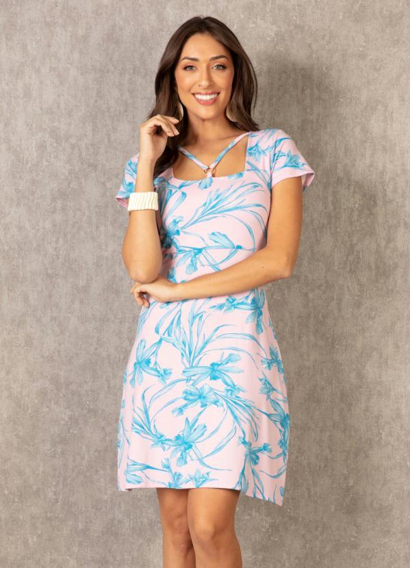 Vestido com Detalhe de Argola (Floral Rosa)