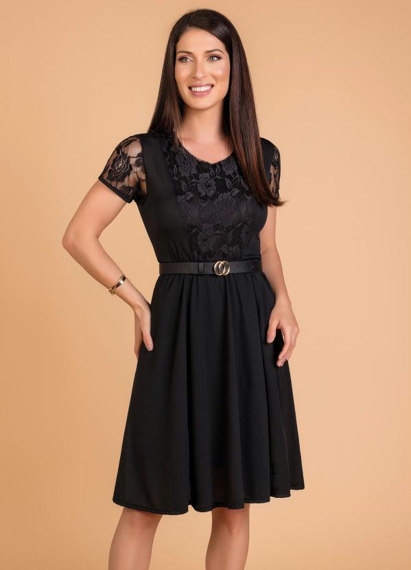 Vestido com Elástico (Preta) Moda Evangélica