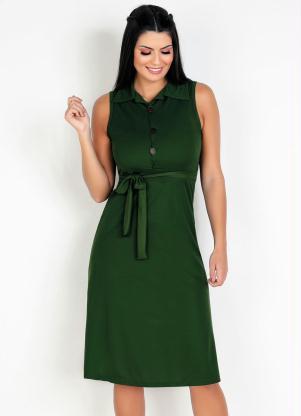 Vestido com Faixa (Verde) Moda Evangélica