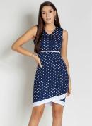Vestido com Filete Poá Azul Moda Evangélica