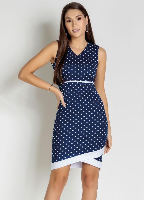 Vestido com Filete (Poá Azul) Moda Evangélica