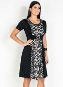 Vestido com Fivela Onça Preta Moda Evangélica