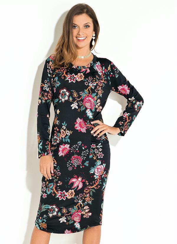 Vestido com Franzidos (Floral Preto) Quintess