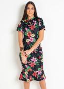 Vestido com Gola Laço Floral Moda Evangélica