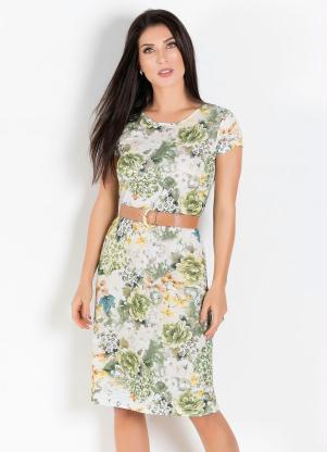 Vestido com Gola Redonda (Floral e Verde)