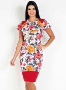 Vestido com Gota Floral Laranja Moda Evangélica